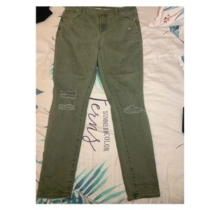 Ripped green jeans
